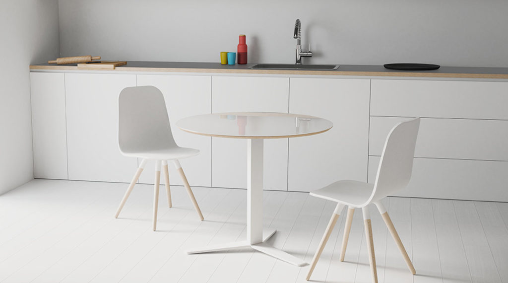 silla modelo NUVA y mesa modelo PELICCAN de CANCIO