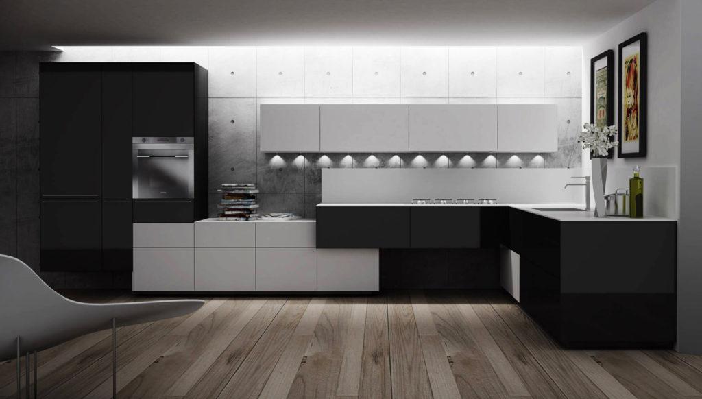 cocina moderna blanco negro