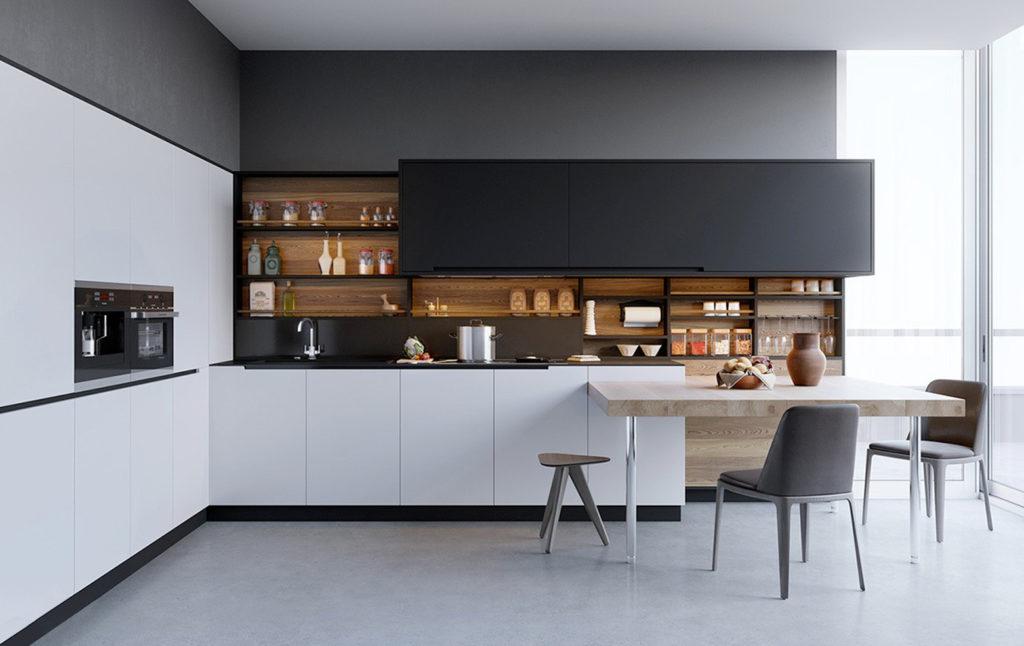 cocina madera blanco y negro