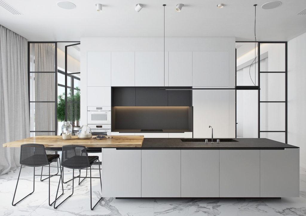 Cocina Black and white minimalista