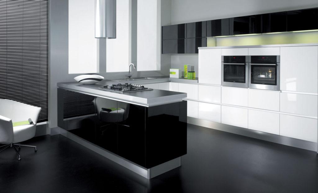 cocina blanco y negro minimalista